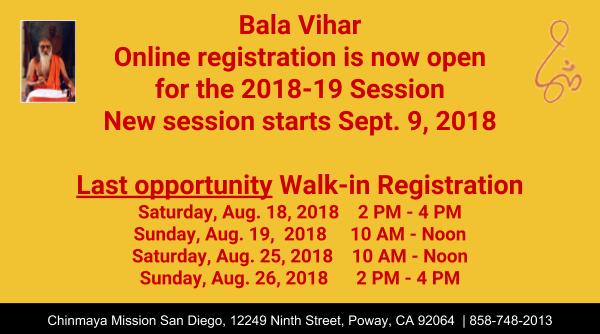 2018-19 Bala Vihar Online Registration